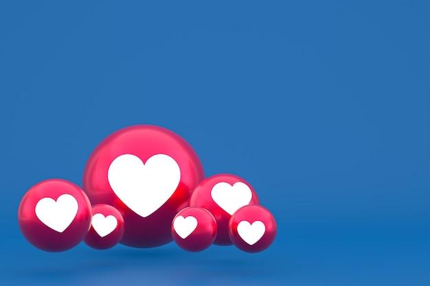 Ícone de amor reações do facebook emoji renderização 3d, símbolo de balão de mídia social em azul Foto Premium