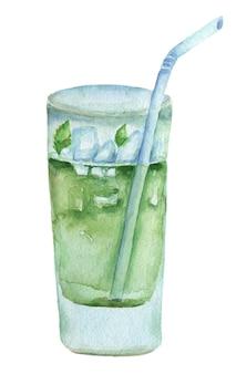 Ícone de aquarela coquetel verde desenhado de mão. pintura mojito isolada no branco