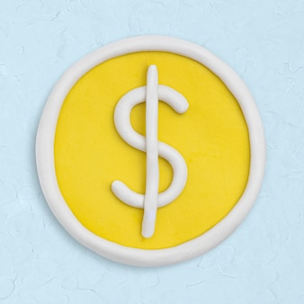 Ícone de argila de moeda de dólar fofo feito à mão finanças gráfico de artesanato criativo