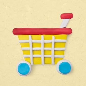 Ícone de argila do carrinho de compras fofo marketing artesanal gráfico de artesanato criativo