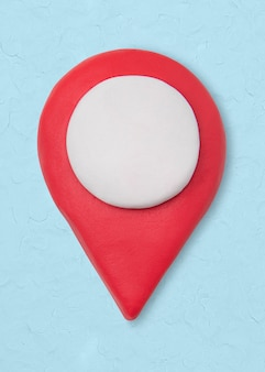 Ícone de argila do pino de localização fofo marketing artesanal gráfico de artesanato criativo