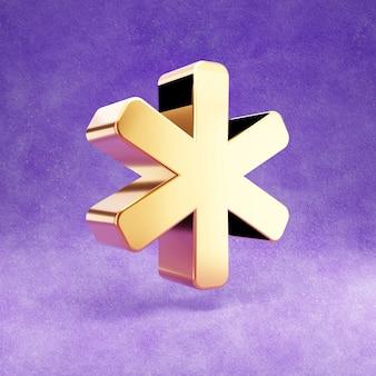 Ícone de asterisco isolado em veludo violeta