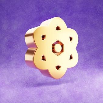 Ícone de átomo isolado em veludo violeta