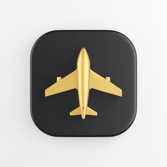 Ícone de avião dourado. botão chave quadrado preto de renderização 3d, elemento interface ui ux.