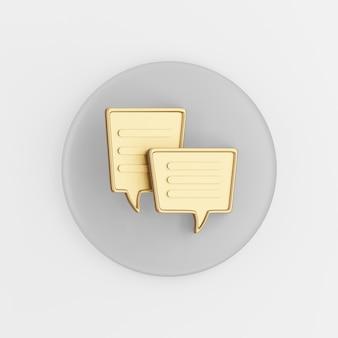 Ícone de balões de fala de ouro quadrado. botão chave redondo cinza de renderização 3d, elemento interface ui ux.