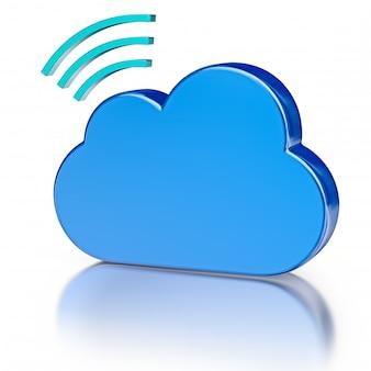 Ícone de banco de dados de metal e nuvem azul brilhante