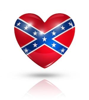 Ícone de bandeira do coração confederado de amor