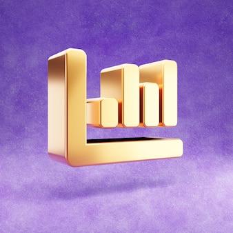 Ícone de barra de gráfico isolado em veludo violeta