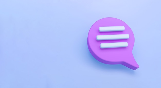 Ícone de bate-papo da bolha do discurso roxo 3d isolado sobre fundo azul. conceito criativo de mensagem com espaço de cópia para o texto. símbolo de bate-papo de comunicação ou comentário. conceito de minimalismo. ilustração 3d render