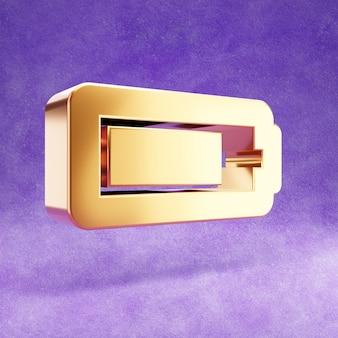 Ícone de bateria de três quartos isolado em veludo violeta
