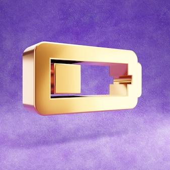Ícone de bateria de um quarto isolado em veludo violeta