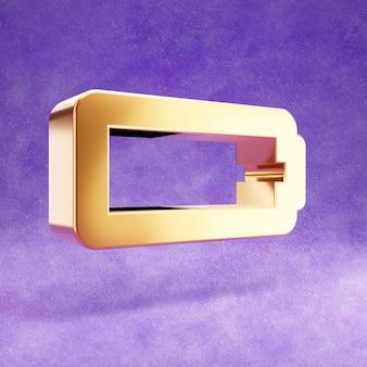 Ícone de bateria vazia isolado em veludo violeta