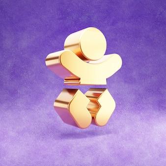 Ícone de bebê isolado em veludo violeta