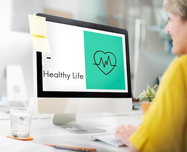 Ícone de bem-estar de vida saudável e coração
