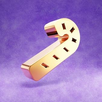 Ícone de bengala doce isolado em veludo violeta
