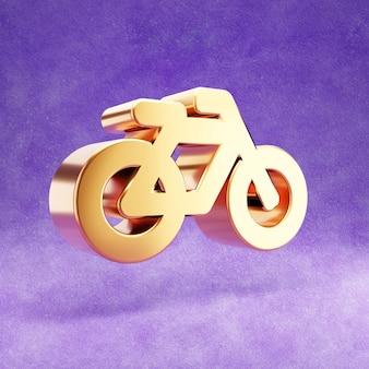 Ícone de bicicleta isolado em veludo violeta