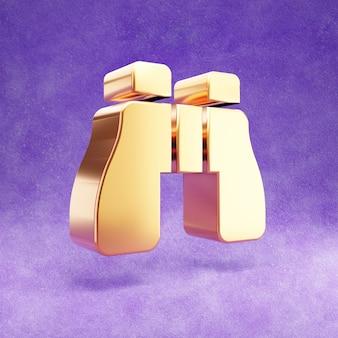 Ícone de binóculos isolado em veludo violeta