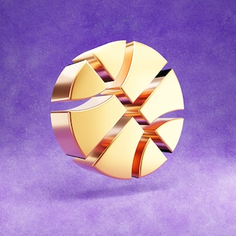 Ícone de bola de basquete isolado em veludo violeta