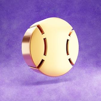 Ícone de bola de beisebol isolado em veludo violeta