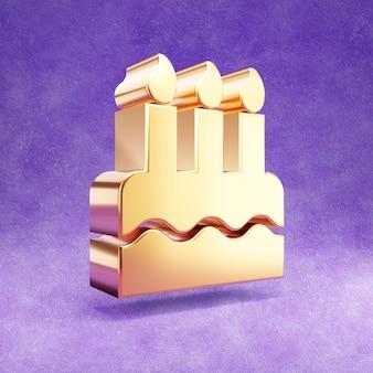 Ícone de bolo de aniversário isolado em veludo violeta