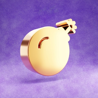 Ícone de bomba isolado em veludo violeta