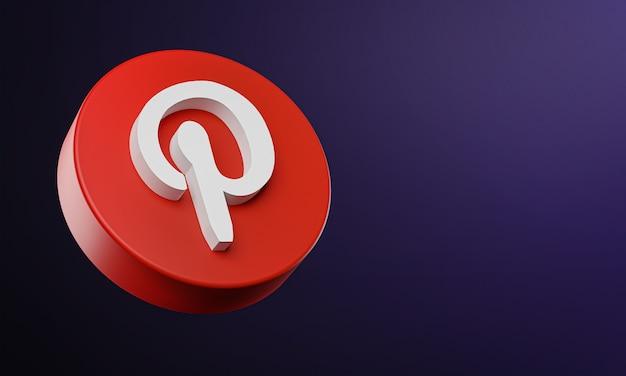 Ícone de botão circular do pinterest 3d com espaço de cópia