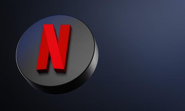 Ícone de botão circular netflix 3d com espaço de cópia
