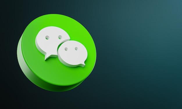 Ícone de botão circular wechat 3d com espaço de cópia