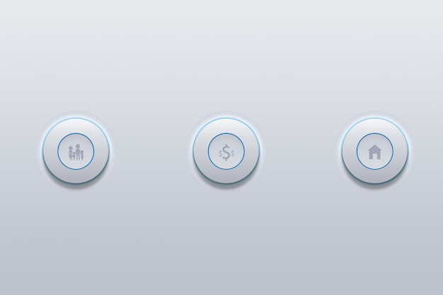 Ícone de botão da família definir o símbolo em cinza.