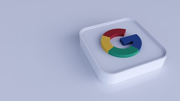 Ícone de botão do logotipo do google 3d com espaço de cópia. renderização 3d