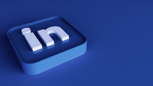 Ícone de botão quadrado do linkedin 3d com espaço de cópia. renderização 3d