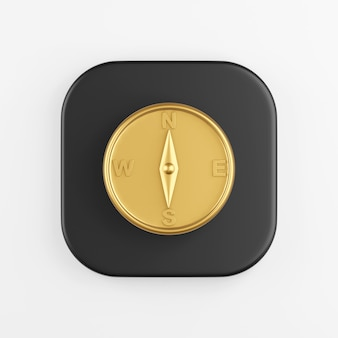 Ícone de bússola magnética dourada. renderização 3d do botão de chave quadrado preto, elemento interface ui ux.