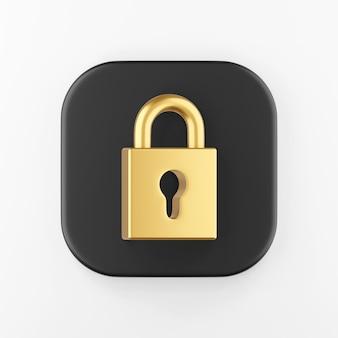 Ícone de cadeado fechado dourado. botão chave quadrado preto de renderização 3d, elemento interface ui ux.