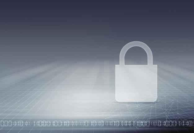 Ícone de cadeado liso no conceito de grade, segurança e proteção do espaço 3d