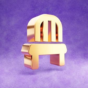 Ícone de cadeira isolado em veludo violeta