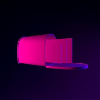 Ícone de caixa de correio de néon com letras. elemento de interface ui ux de renderização 3d. símbolo escuro e brilhante.