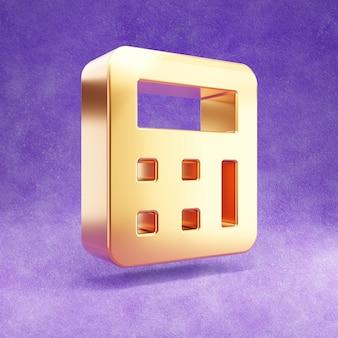 Ícone de calculadora isolado em veludo violeta Foto Premium