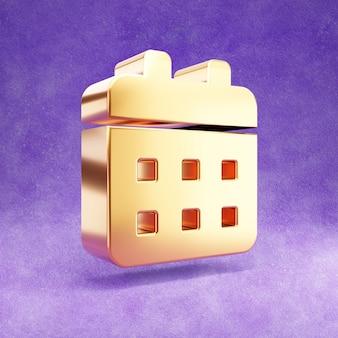 Ícone de calendário isolado em veludo violeta