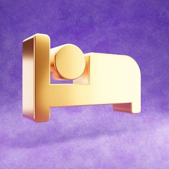 Ícone de cama isolado em veludo violeta
