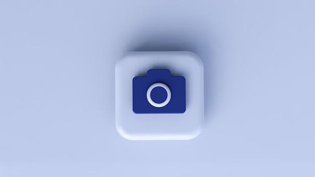 Ícone de câmera azul com fundo branco. renderização 3d