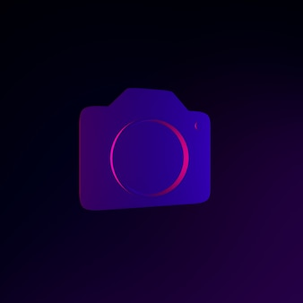 Ícone de câmera fotográfica de néon em estilo simples. elemento de interface ui ux de renderização 3d. símbolo escuro e brilhante.
