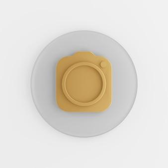 Ícone de câmera fotográfica de ouro. botão chave redondo cinza de renderização 3d, elemento interface ui ux.