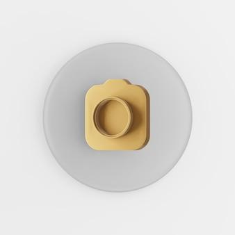 Ícone de câmera fotográfica de ouro. botão chave redondo cinza de renderização 3d, elemento interface ui ux. Foto Premium