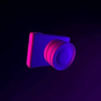 Ícone de câmera fotográfica digital de néon. elemento de interface ui ux de renderização 3d. símbolo escuro e brilhante.