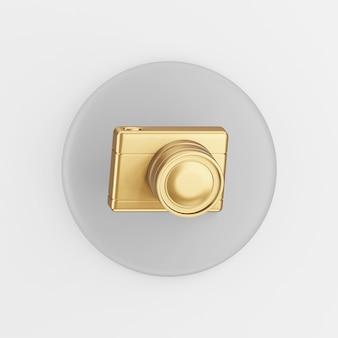 Ícone de câmera fotográfica digital de ouro. botão chave redondo cinza de renderização 3d, elemento interface ui ux.