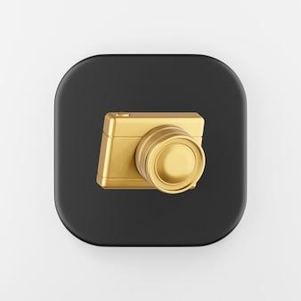 Ícone de câmera fotográfica digital de ouro. chave do botão quadrado preto de renderização 3d, elemento interface ui ux.