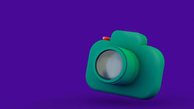 Ícone de câmera fotográfica isolado em roxo