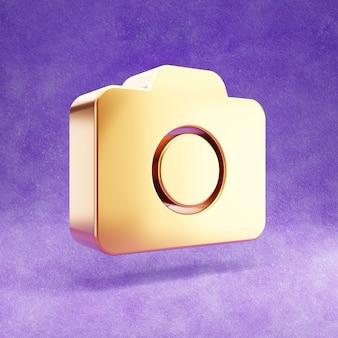 Ícone de câmera fotográfica isolado em veludo violeta