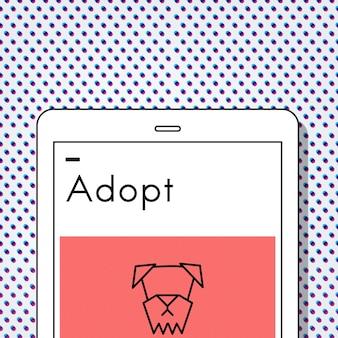 Ícone de cão para adotar animais, melhores amigos