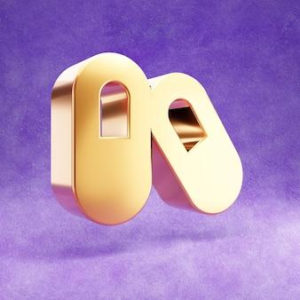 Ícone de cápsulas isolado em veludo violeta